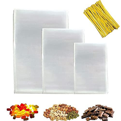 300x Sacchetti di Plastica Trasparente in Cellophane(7 cm x 10 cm,10 cm x 15 cm,10 cm x 25 cm),per Caramella,Biscotto,Bread,ChocolateBakery Bags