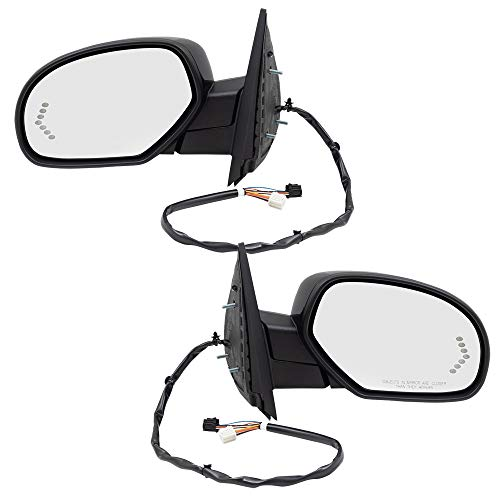Replacement Set Power Folding Door Mirrors Heated Memory Puddle Lamp Signal on Glass Compatible with 07-14 Silverado Sierra Tahoe Yukon & XL