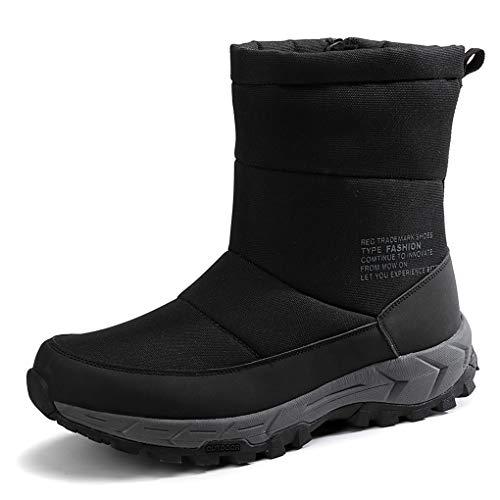 Invierno Aire Libre Botas Hombre Botas de Nieve High Top Cremallera Zapatos Forro Piel Calientes Ultraligeras Cómodos para Casual Trekking Caminar