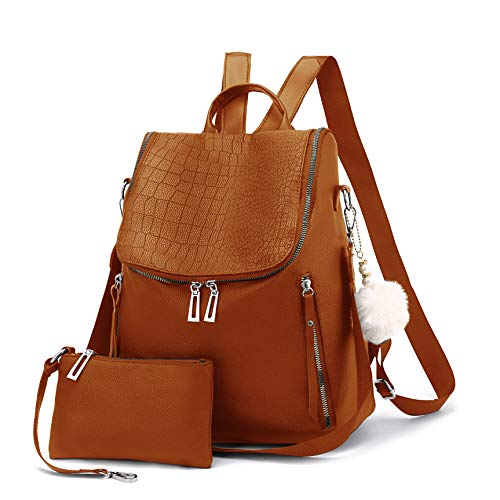 Women Backpack Purse Multi-pocket Large Capacity Leather Shoulder Bag 2-PCS Fashion Backpack for Girls (Brown)