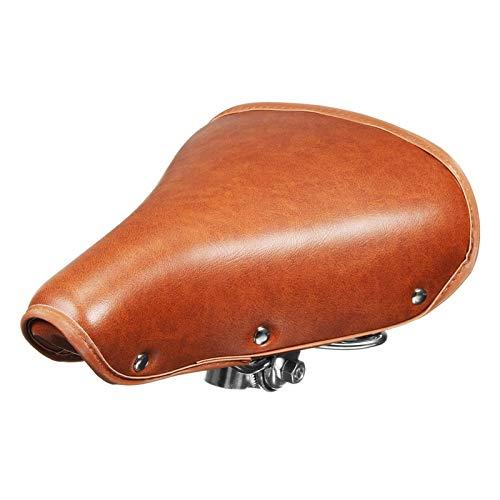 PPCAK Vintage Bicicleta PU Cuero Silla de Montar Asiento Doble amortiguación resortes Suave montaña Bicicleta Silla de Montar marrón Parte