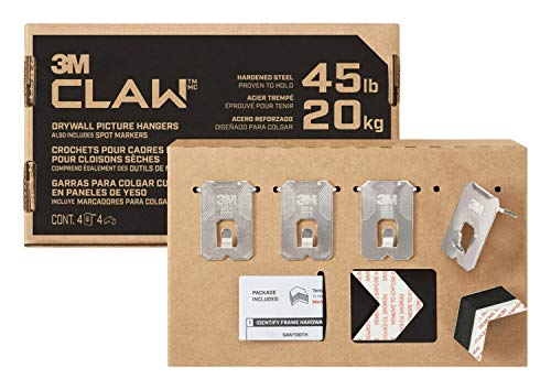3M CLAW Drywall Picture Hanger with Temporary Spot Marker, Holds 45 lbs, 4 Hangers, 4 Markers/Pack