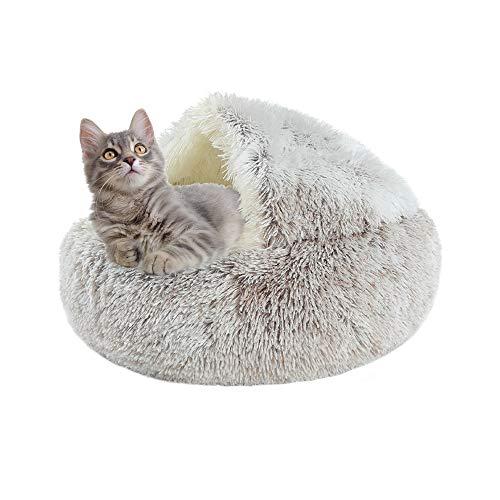 Sfit Panier Rond pour Animal de Compagnie Coussin de lit Chat Moelleux Panier Donut Lit Ultra-Doux Nid Chiot Respirant Tapis Pet Cat Bed Portable Panier Niche Caverne Maison Lavable
