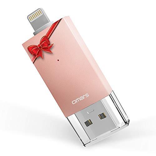 Omars Memoria USB 3.0 [Certificado por Apple MFI] Irisation 32 GB Pendrive para iPhone iPad MacBook Computadoras Laptops Flash Drive con Lightning Conector