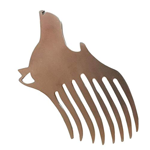 LAANCOO Peine Llavero portátil de Acero Inoxidable Anillo dominante de múltiples Funciones de la Cabeza del Lobo Mini Abridor de Bolsillo Barba Comb Regalos para Hombres, Mujeres Peine Barba