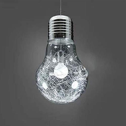 Lámpara Colgante de Cristal con Forma de Bombilla E27,Lámpara Colgante de Bombilla Grande para Bar,Cafetería,Restaurante,Decoración de Habitación Interior
