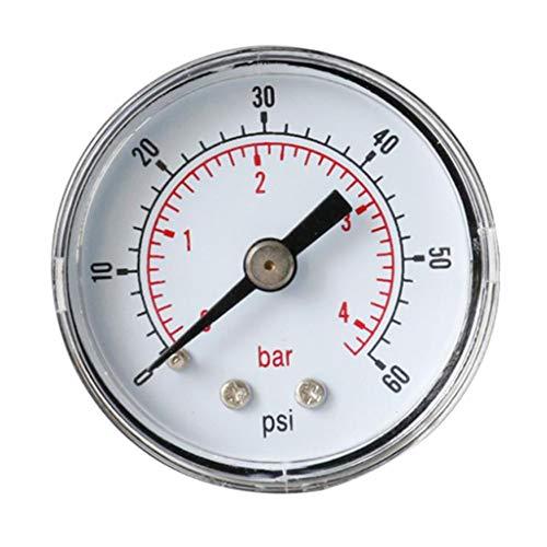 Almencla Manometer 40mm Pneumatisch 0-60 PSI 0-4 Bar Druckmesser, Horizontal Montage