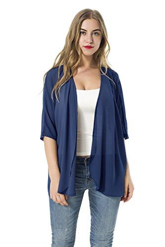 Las mujeres sueltan las chaquetas de la rebeca de la gasa del kimono del mantón de las blusas (S, azul)