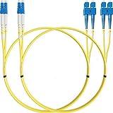 LC to SC Fiber Patch Cable Single Mode Duplex - 2m (6.56ft) - 9/125um OS1 LSZH (2 Pack) - Beyondtech PureOptics Cable Series