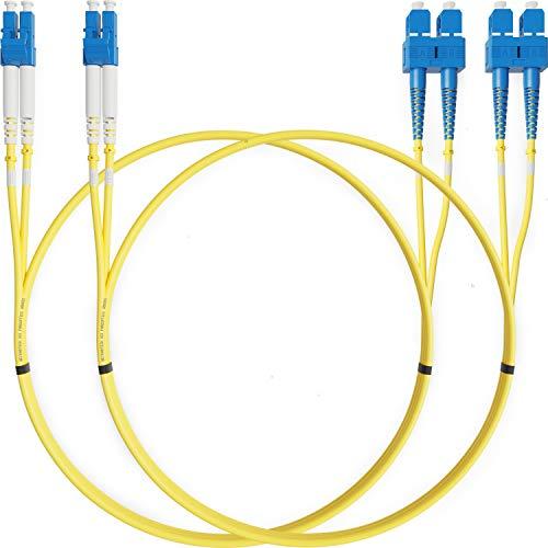 LWL Patchkabel LC SC 2M Glasfaser Singlemode Duplex (Packung mit 2) - UPC/UPC - 9/125um OS1 (LSZH) - Patchkabel von Beyondtech - PureOptics Series