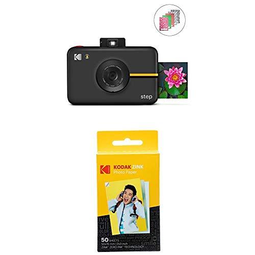 KODAK RODIC20AMZB Step Cámara Digital con Sensor de Imagen de 10 MP, Tecnología Zink, Modo selfi, Temporizador automático, Negro + Papel fotográfico Zink Premium de 2x3 Pulgadas, 50 Hojas