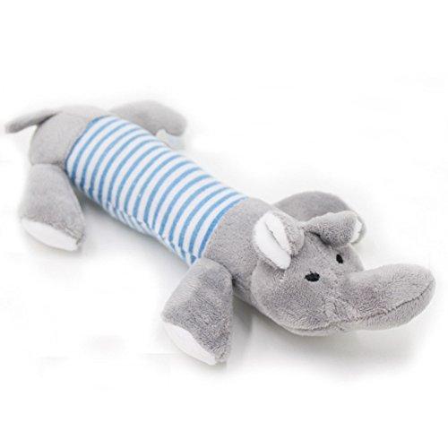 kentop Sonore Spielzeug hat Geschmack für Hunde Welpen Squeak Spielzeug Haustiere, Plüsch Hundespielzeug Spielzeug quietscht Plüsch Elefant grau Plüsch 25cm (1Stück)