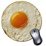 Round Mousepad, Fried Egg Mouse pad, Cute Funny Gift Non-Slip Rubber Mouse Mat for Desk and Laptop Computer