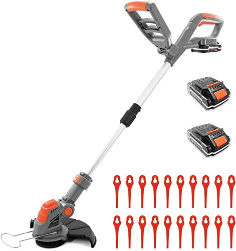 Terratek Cordless Strimmer with 2 Batteries & 30 Spare Blades 18/20V Lithium-Ion, Telescopic Lightweight Powerful Grass Trimmer, 25cm Cutting Diameter, Battery & Charger Included