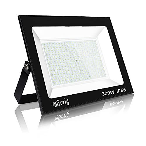 Blivrig 300w foco led exterior, IP66 Impermeable, 30000LM led exterior Blanco Frío 6000K, Foco LED Disipación de calor eficiente, Foco para Iluminación de Seguridad para Jardín, Garaje, Hotel, Patio