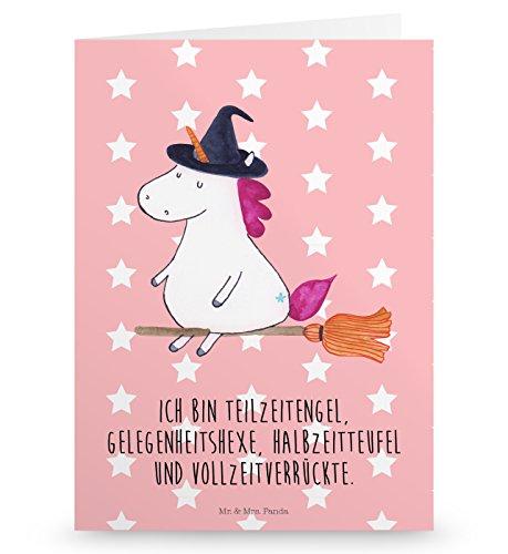 Mr. & Mrs. Panda Klappkarte, Geburtstagskarte, Grußkarte Einhorn Hexe mit Spruch - Farbe Rot Pastell
