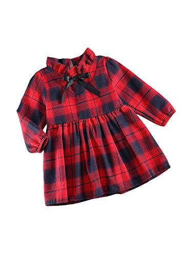 Carolilly - Vestido navideño de niña para bebé, vestido de manga larga con cuello escocés con solapa para otoño e invierno rojo 4-5 Años
