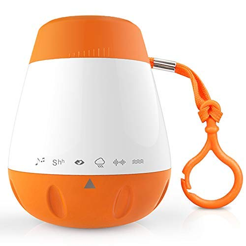 EAREST Baby Sound Machine for Sleep - Portable Sleep Soother Gentle 6 Sounds Include Lullaby, Fetal Heartbeat, White Noise, Shush, Ocean, and Rain - Auto-Off Timer Function and USB Output Charger