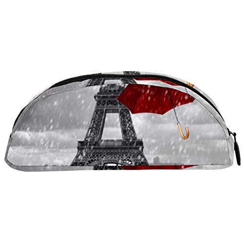 TIZORAX Federmäppchen, Eiffelturm mit fliegenden roten Regenschirmen, Federmäppchen, Tasche, Schreibwaren, Stiftebox, Kosmetiktasche für Teenager Mädchen Jungen Kinder