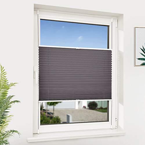 NoCon Plissee Klemmfix ohne Bohren Jalousie für Fenster & Tür Sichtschutz Easyfix Plisseerollo mit Klemmträger verspannt, 115x130cm (BxH) Anthrazit