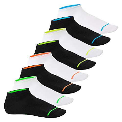 Footstar Herren & Damen Sneaker Socken (8 Paar), Kurze Sportsocken im Neon Look - Neon Glow - Mix 43-46