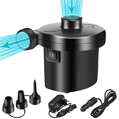 Aenamer Elektrische luftpumpe, Luftmatratze Pumpe, Inflator Deflator Elektropumpe mit 3 Düsen für Aufblasbare Matratze Kissen Bett Boot Schwimmring