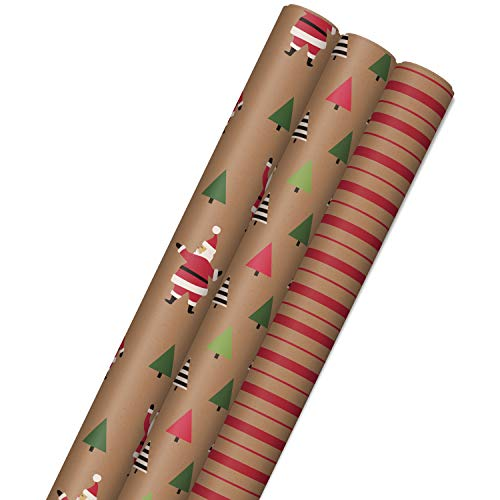 Hallmark Sustainable Christmas Wrapping Paper with Cut Lines on Reverse (3 Rolls: 90 sq. ft. ttl) Kraft with Santas, Trees, Stripes