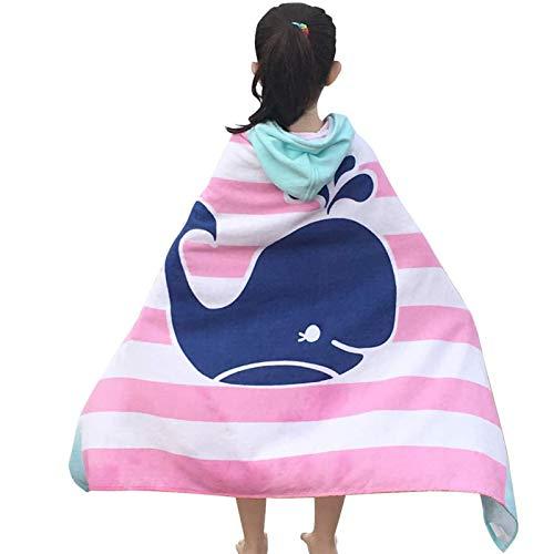 Toalla de baño y Playa con Capucha para niños, 60 cm * 150 cm, Suave Absorbente, 100% algodón, tiburón y Ballena, Cubierta de baño para niños y niñas