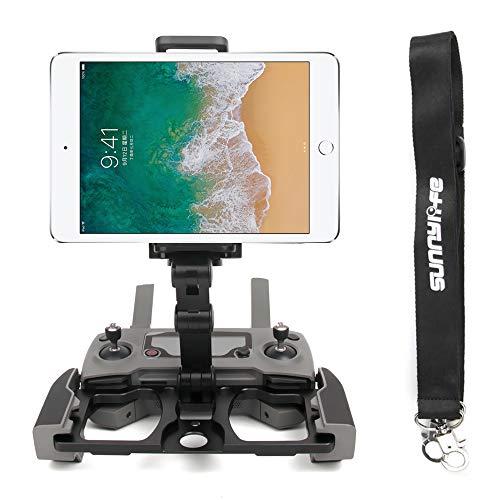 Anbee Foldable Aluminum Tablet Stand Smart Phone Holder Bracket with Lanyard Compatible with DJI Mavic 2 / Mavic Mini 2 / Mini / Pro /Mavic Air/Spark Drone Remote Controller (Black)