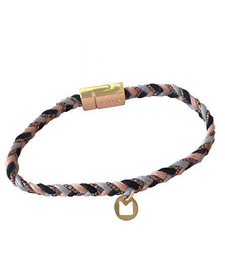 Hipanema Damen Armband dünnes geflochtenes Armband mit Metallverschluss Länge: ca. 17cm Farbe: Gold, Rosa/hellblau / Schwarz = 1 Armband