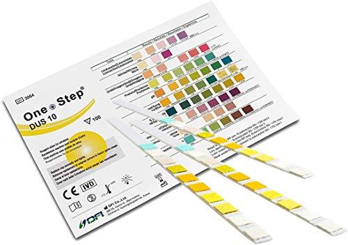 Urinalysis Multisticks, 10 strisce reattive per urine (10 parametro: Glucosio, Chetone, Proteina, Valore pH, Nitrito, Bilirubina, Gravità specifica, Sangue, Urobilinogeno)