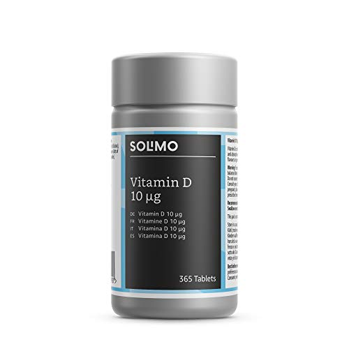 Amazon Brand - Solimo Vitamin D 10 μg Food Supplement, 365 Tablets