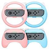 【最新NS Joy-Con専用クリップ&お得4点セット】 Nintendo Switch joy-con対応 ハンドル型+ゲームパッド型 マリオカート8 デラックス スイッチ レーシングゲーム ハンドル コントローラー(装着簡単、手触り良い、持ちやすい) スイッチ ジョイコン専用 マリオカート ハンドル (ピンク/ブルー)