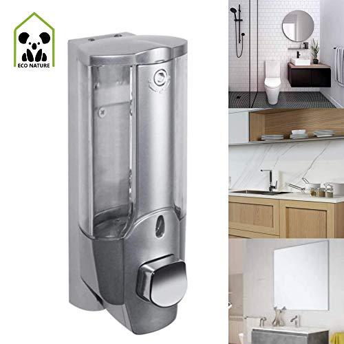 eco nature Dispensador o Dosificador de Jabón Gel o Champú Liquido para Pared de Ducha o Baño 350 ML