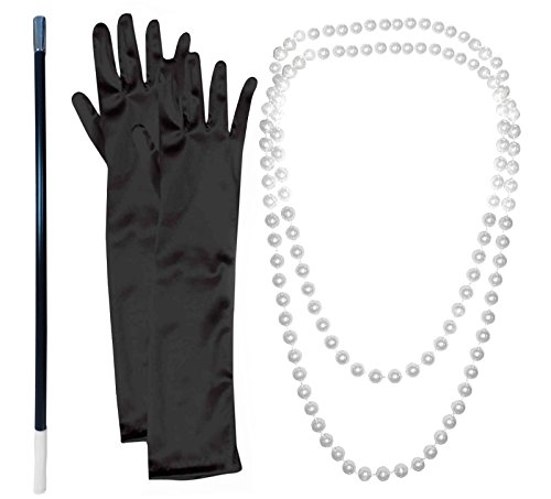 1920-er accessoires: parelhalsketting met sigarettenpunt en zwarte handschoenen.