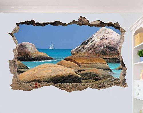 Adesivi Murali adesivo da parete Trasparente blu mare veliero 3D adesivi murali camera degli ospiti decalcomania decorazione murale 80 * 120CM