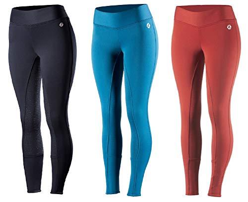 netproshop Winter Reithose Tights Leggings mit Vollbesatz Fleecefutter und Silikonaufdruck 34-44, Damengroesse:44, Farbe:Dunkelrot