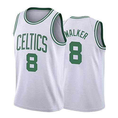 SWA Maglia da Basket # 8 Celtics Walker Canotta da Basket Canottiera Sportiva da Uomo Traspirante Confortevole da Allenamento S-2XL-White-S