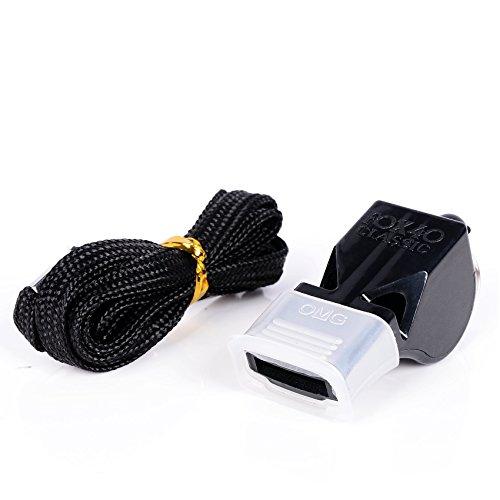 Trillerfluitje met band en mondstuk (complete professionele apparatuur), kleur zwart, originele CMG® Fox 40 pijp Classic