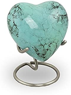 OneWorld Memorials Glenwood Marble Bronze Keepsake Urns - Extra Small - Holds Up to 3 Cubic Inches of Ashes - Turquoise Blue Cremation Urn for Ashes - Engraving Sold Separately