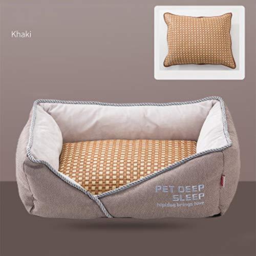 KOKOF Huisdier bed, Pet levert diepe slaap kennel vier seizoenen universeel met matten kat strooisel matten verwijderbare en wasbare matras benodigdheden hond bed-linnen-M