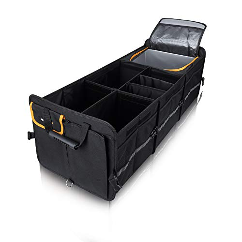 Heytrip Large Trunk Organizer With Built-in Leakproof Cooler Bag, 4 Removable Dividers, Foldable Cover, Built with 2mm PE Board