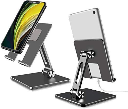 Soporte para tableta, ajustable y plegable de aluminio, soporte de tableta de 180° giratorio multiángulo estable soporte para tablet de escritorio