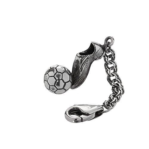 Portachiavi in argento 925 su catena 4cm scarpa da calcio con palla 6159