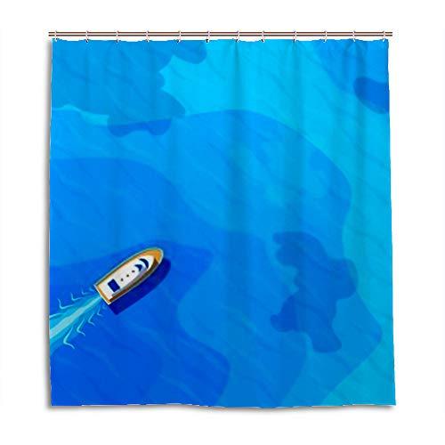 CHEHONG Duschvorhang Boot Segeln Blau Meer Top Aerieal View Wasserdicht Polyester Stoff Vorhang Liner 12 Haken Badezimmer Dusche Ständer Badewannen, Polyester, 2, 66x72 inch