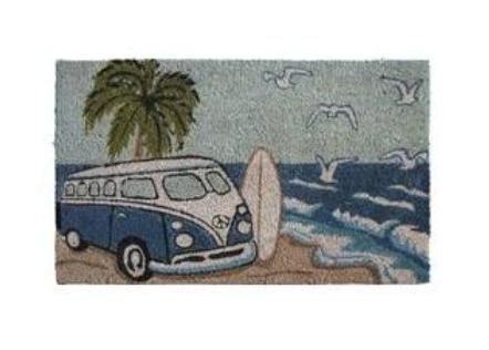 Felpudo de coco furgoneta combi azul surfista