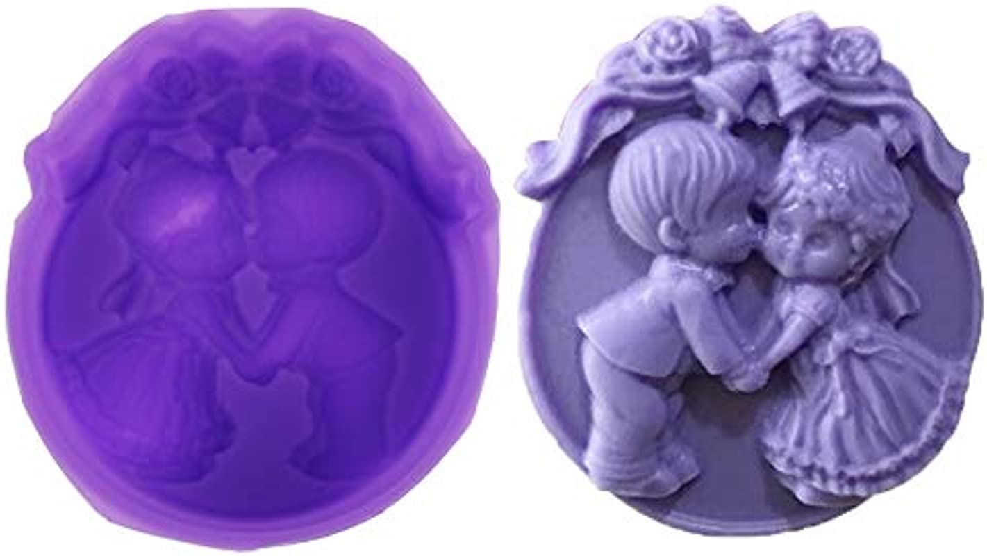 YUYUE Boy And Girl Angels Wedding Soap Silicone Mold Chocolate Cake Decor