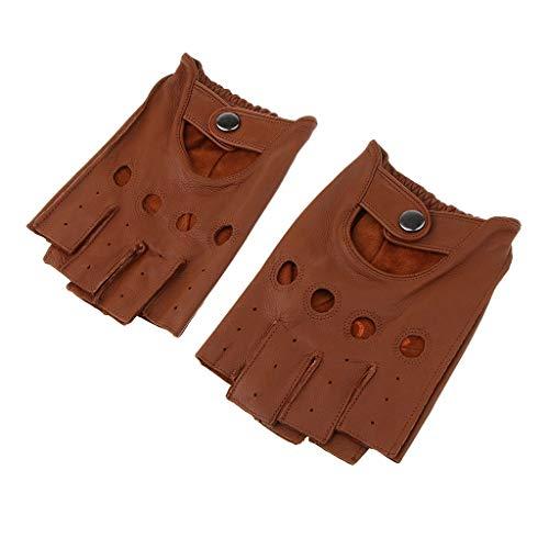 F Fityle Herren Damen Lederhandschuhe Halbfinger Fingerlose Handschuhe Fahrhandschuh Sporthandschuhe Winter warm Fahrradhandschuhe - Braun Taste, XL