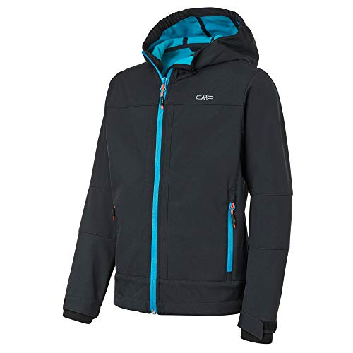 CMP Jungen Softshell Jacket with ClimaProtect WP 7.000 Technology Jacke, Anthracite-Light Blue, 152