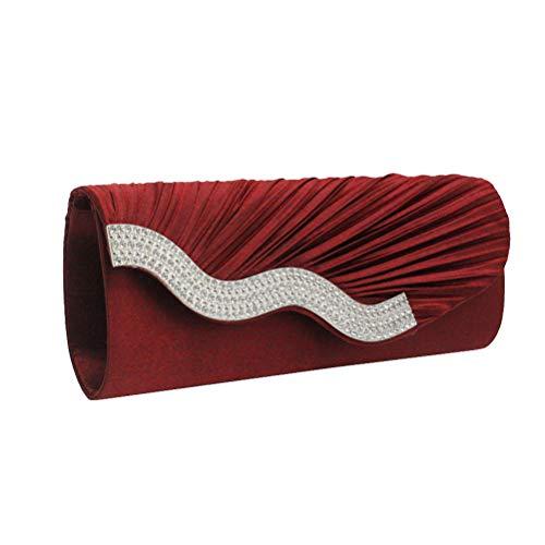 TENDYCOCO Abendtasche Satin Kette Clutch Handtasche Strass Braut Geldbörse für Frauen (rot)